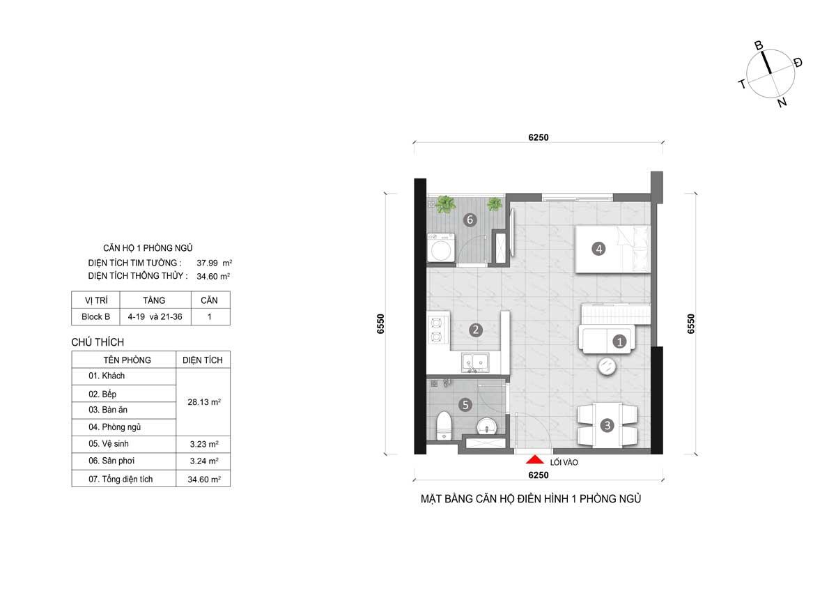 căn hộ 1 phòng ngủ opal cityview đất xanh