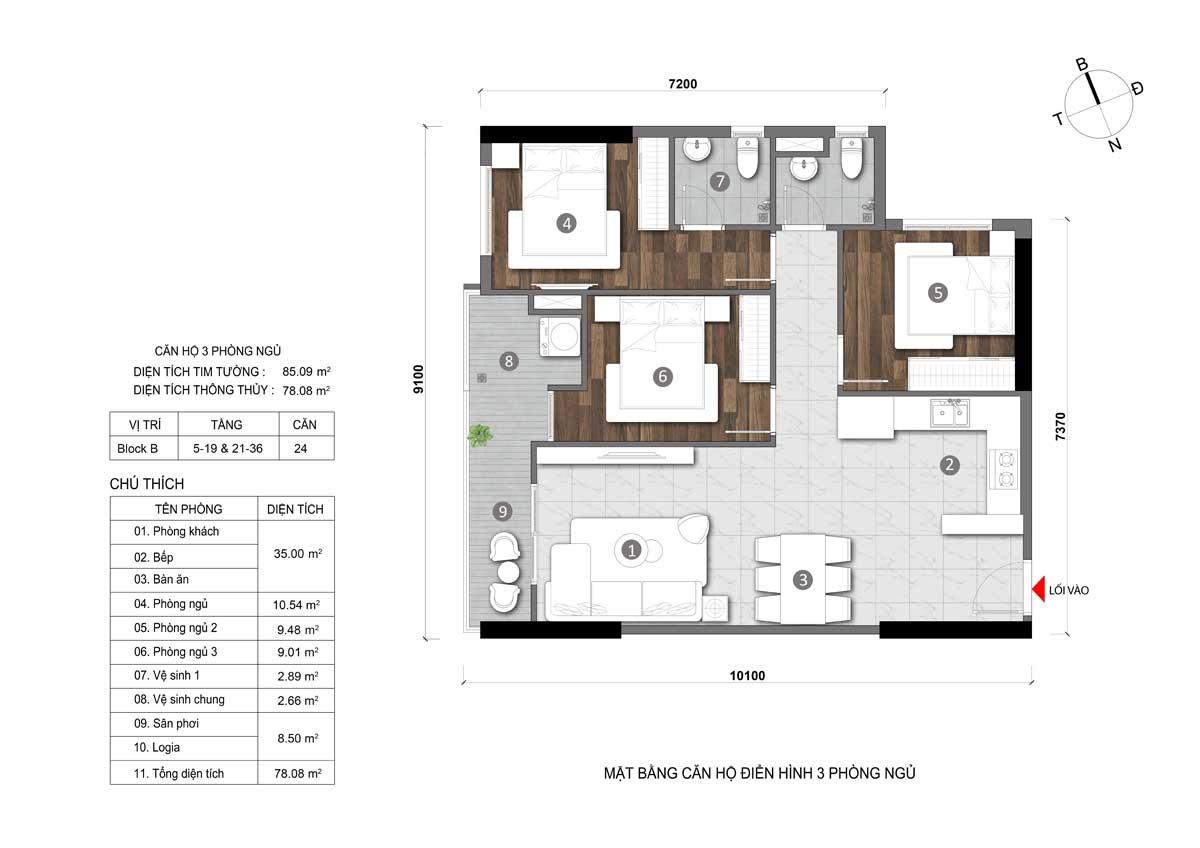 căn hộ 3 phòng ngủ opal cityview đất xanh